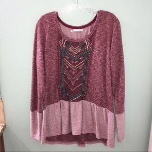 Maurice's Red Boho Hippie Peplum Sweater Blouse